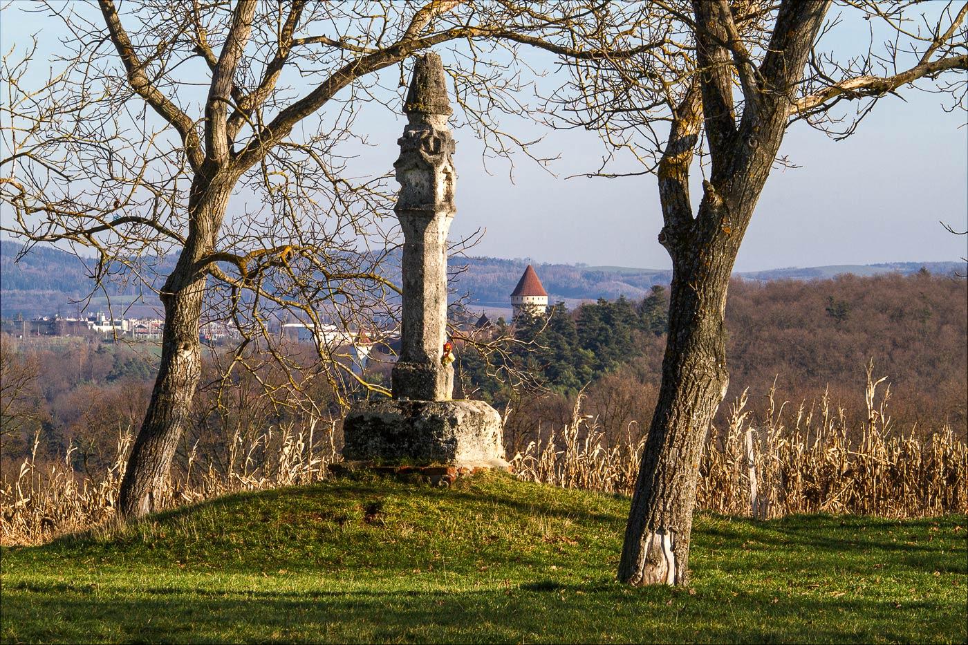Вид на Конопиштский замок с холма Хвойен