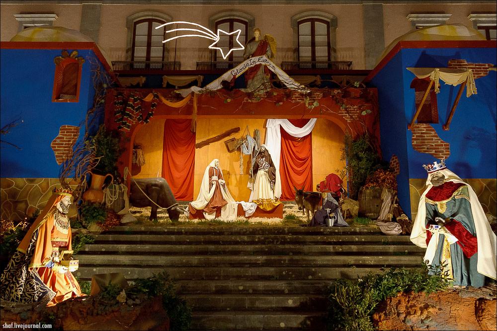 Рождественский вертеп в старинном испанском городе Ла Оротава на острове Тенерифе, Канары