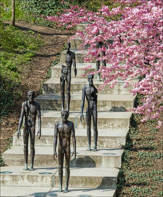 Чехия, Прага, памятник жертвам коммунизма у холма Петржин, весеннее цветение сакуры