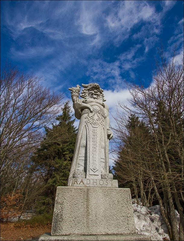 Чехия, Моравия, статуя языческого божества Радегаста (Radegast) на горе Радгошть (Radhošť)