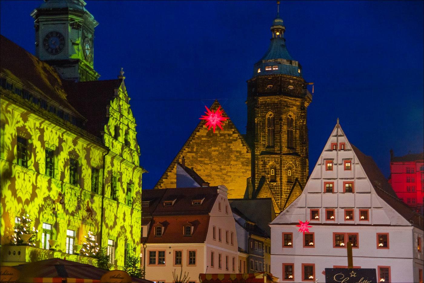 Рождественская иллюминация в Пирне, Саксония