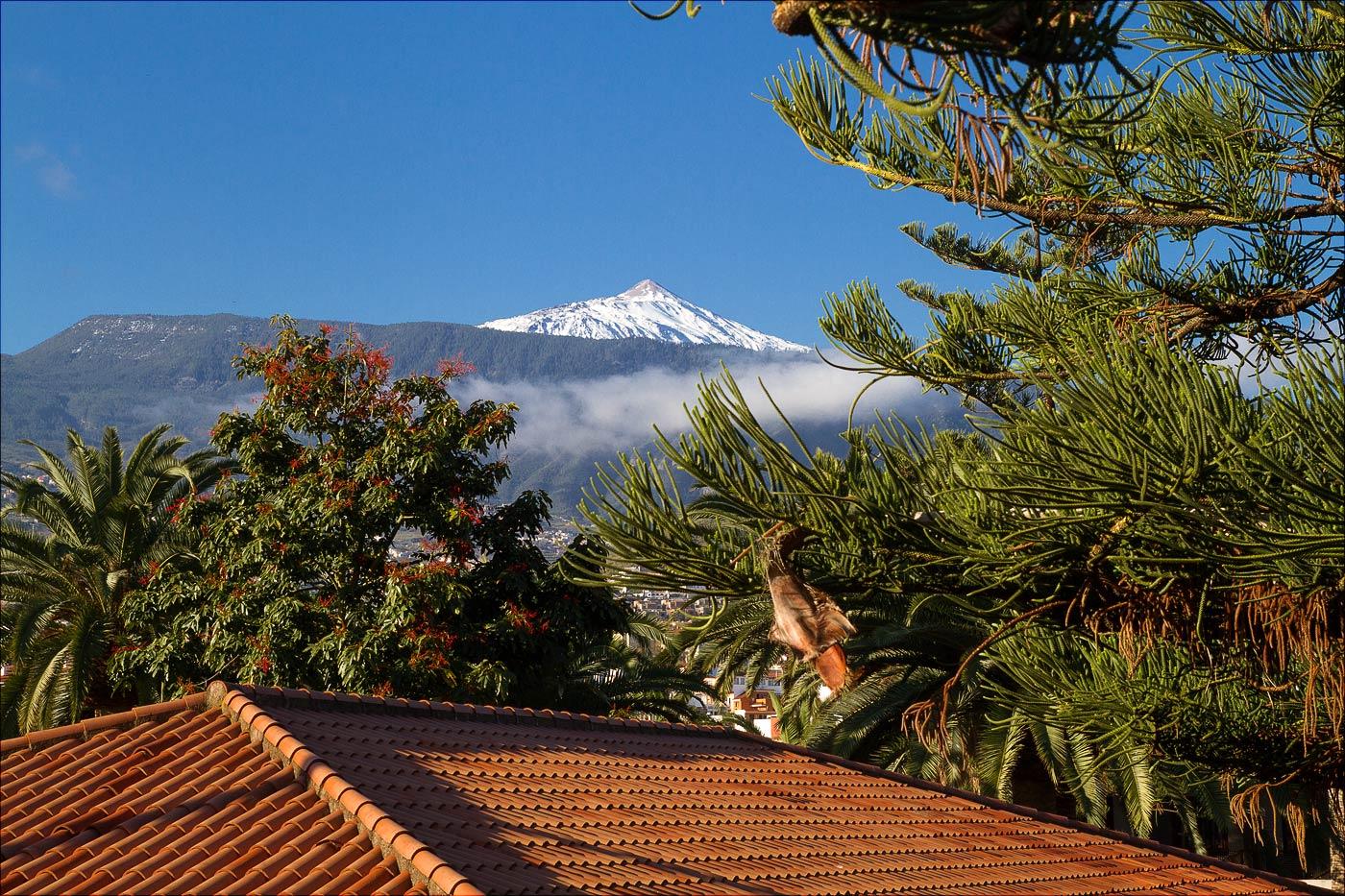 Вид на вершину вулкана Тейде из нашего окна. В этот день месяц назад