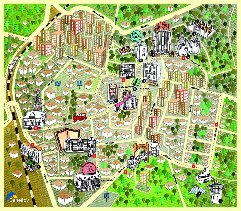 Туристская карта, Бенешов, Чехия | Turistická mapa, Benešov, Střední Čechy
