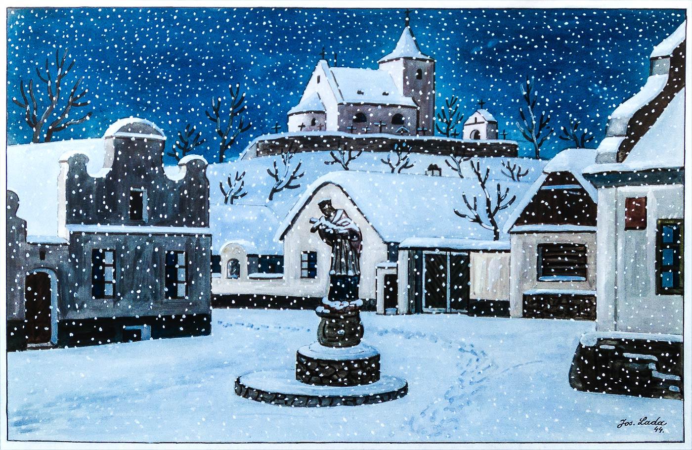 Чешская зима на рисунке Йозефа Лады