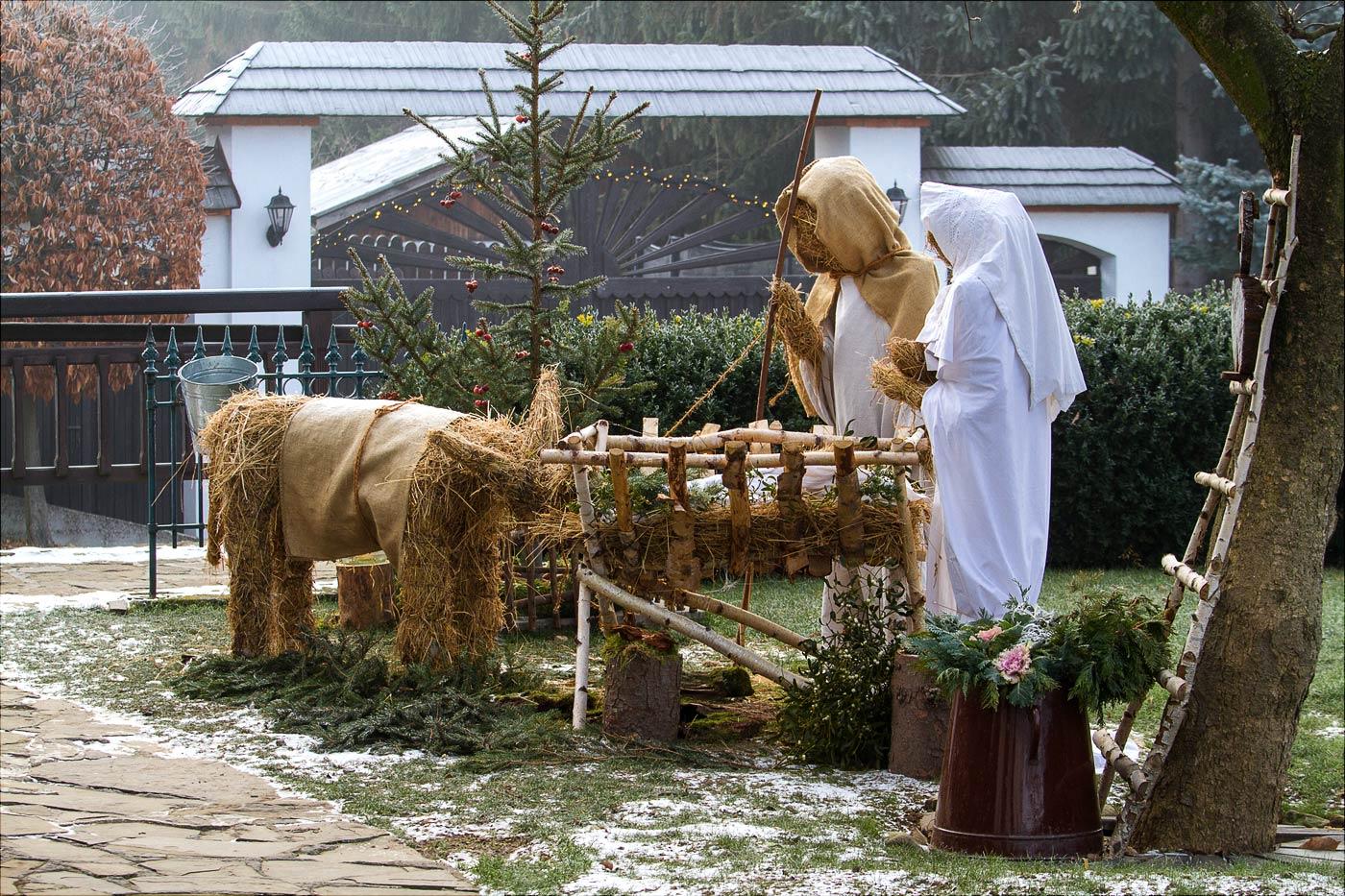 Рождественская сценка из соломенных фигур, пансион Брусенка в Моравии
