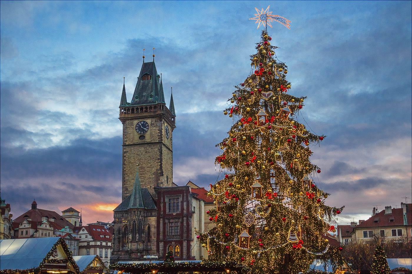 Рождественская елка в Праге на Староместской площади