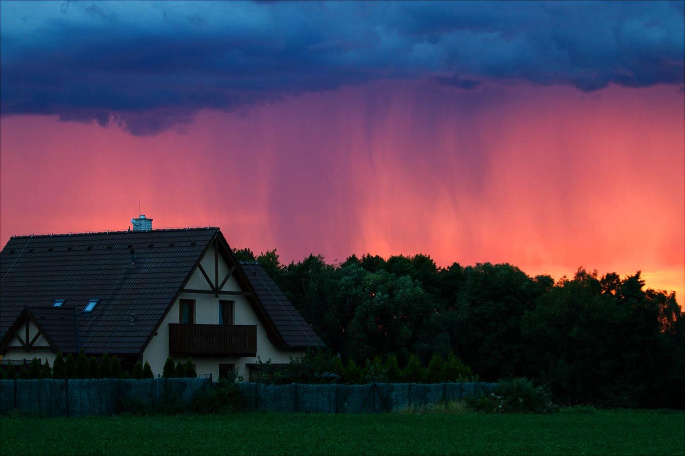 Дождь на закате