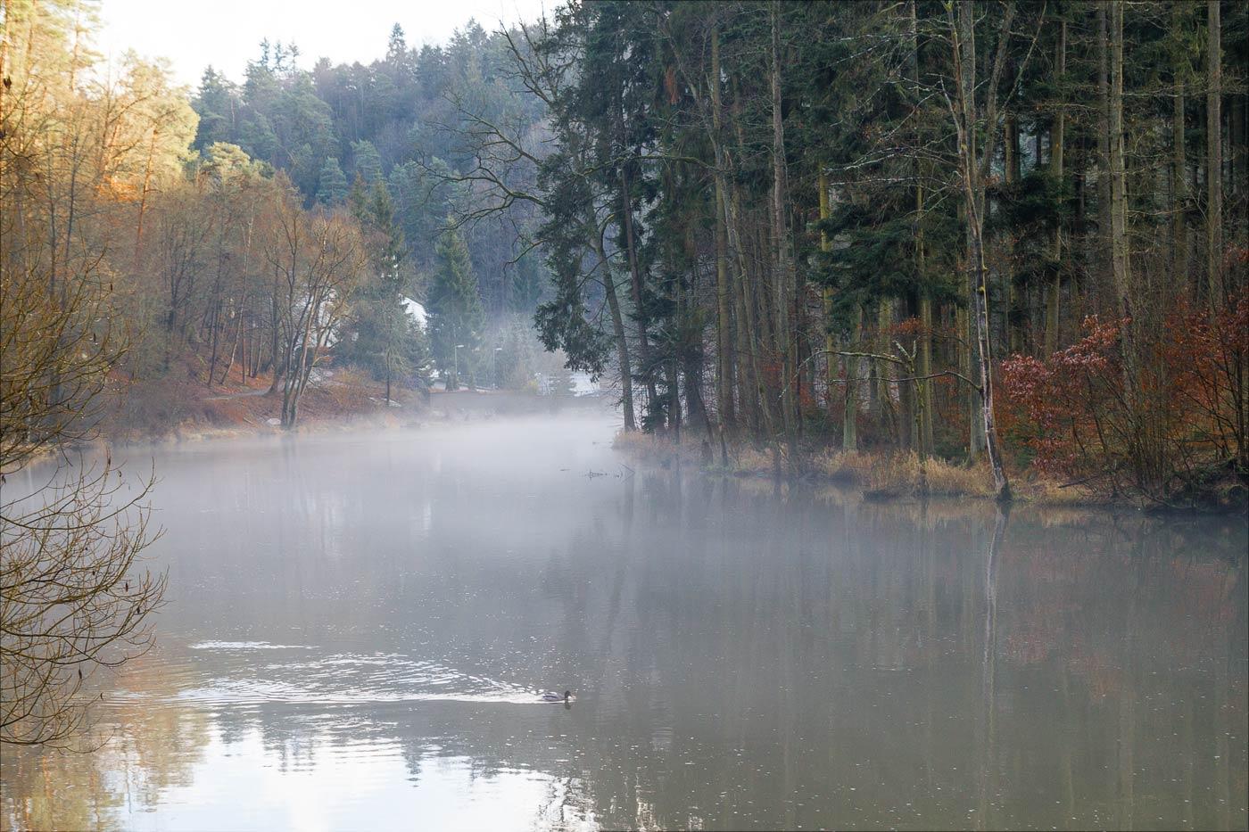 Лужнице, утренний туман над рекой