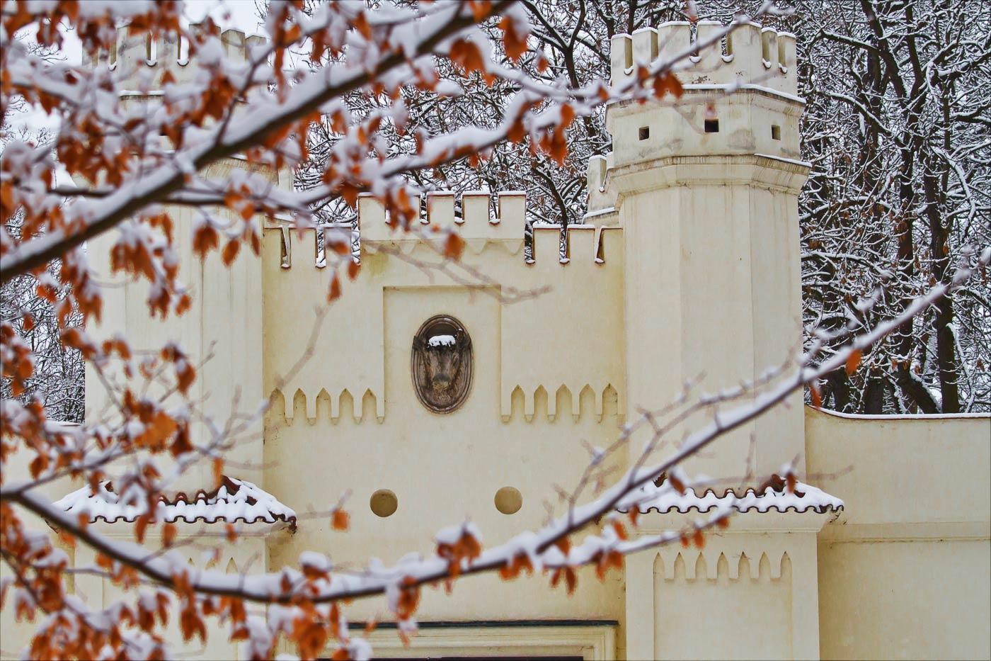 Голова бизона на фасаде Зносимской браны у Влашимкого парка