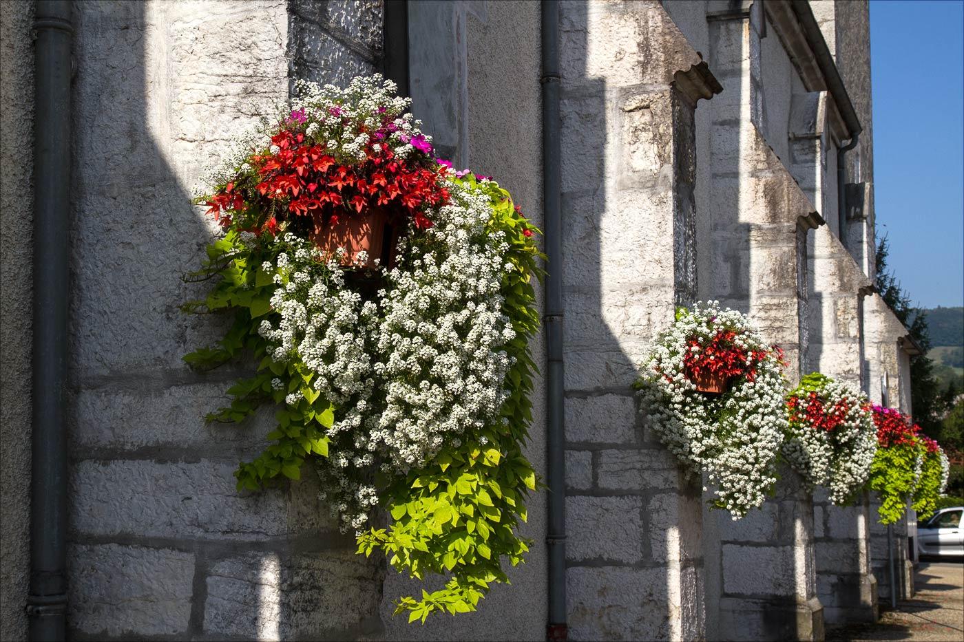 Франция, цветы на стенах костела