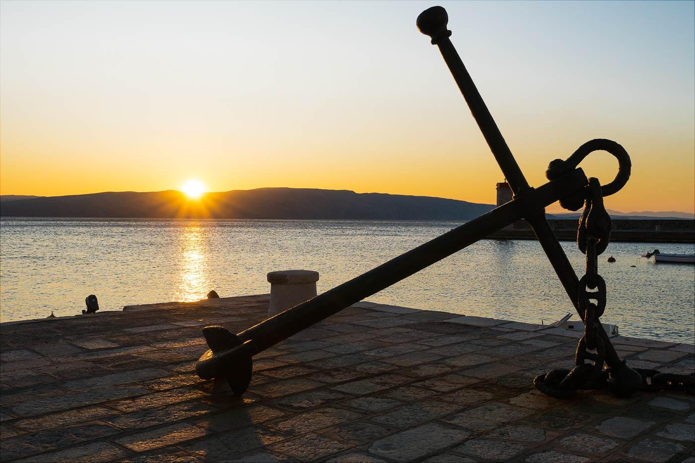 Закат над морем. Сень, Хорватия