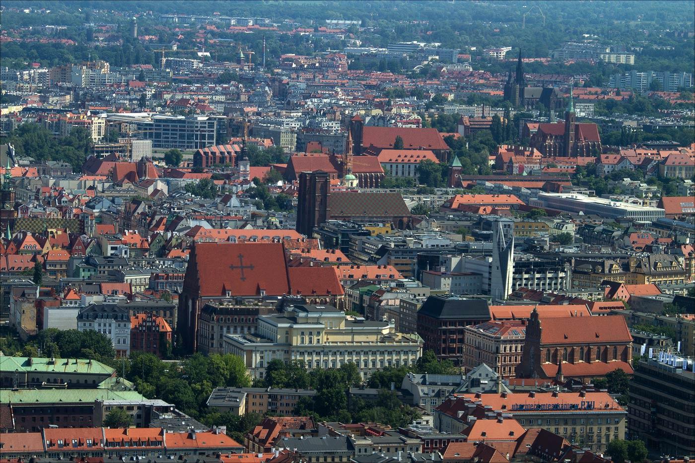 Вроцлав, вид на Старый город со Sky Tower